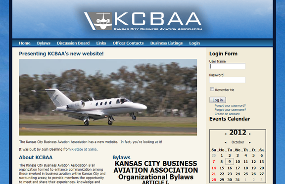 Kansas City Business Aviation Association website screenshot